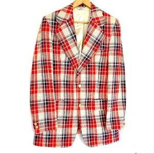 Vtg GEOFFREY BEENE red plaid sport coat L preppy